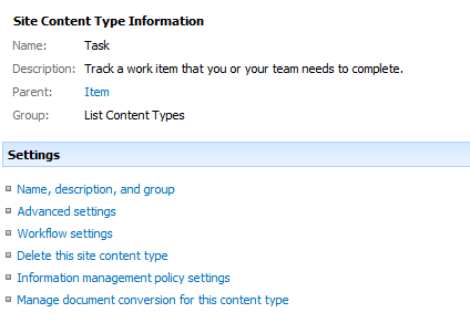 Site Content Type Information