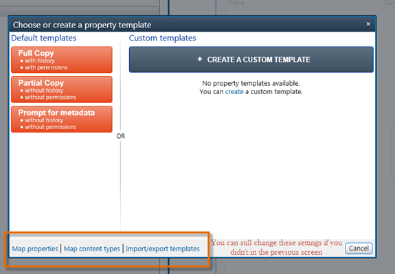 Select template to apply during the migration