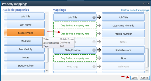 Configure the column mappings