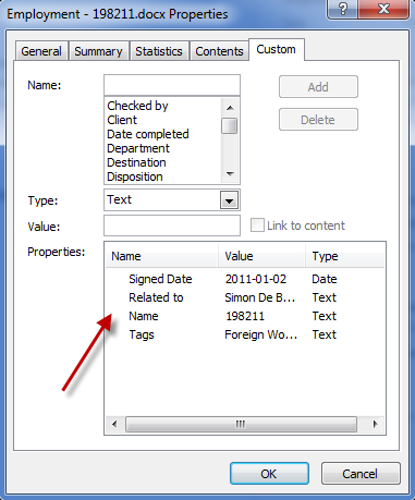 Specify custom properties in Office document