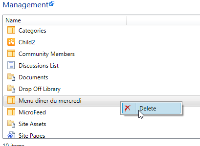 Manage and delete SharePoint lists