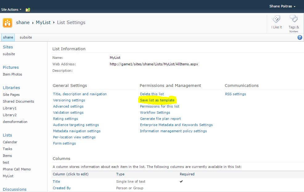 SharePoint list Settings page