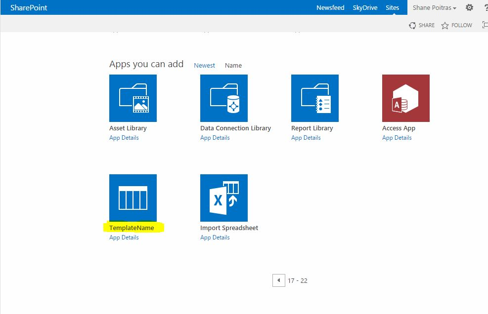 copy Sharepoint list add app page