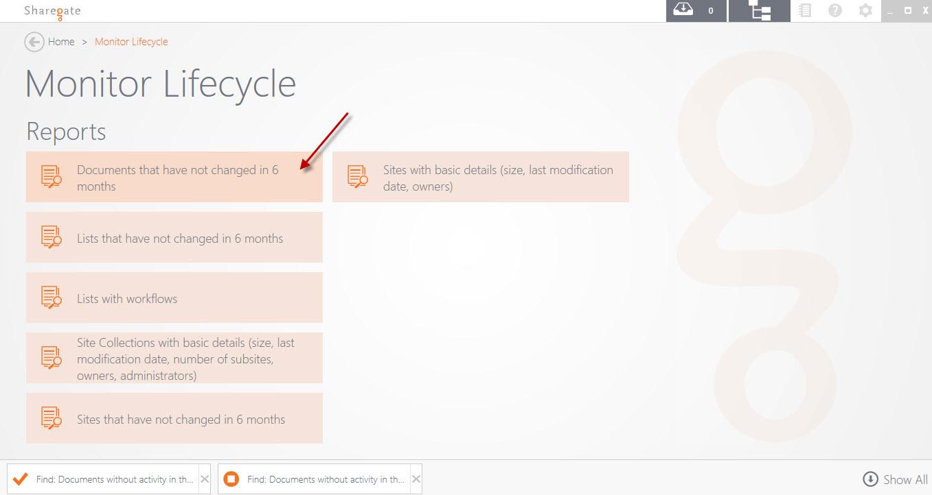 Sharegate Application Main Screen