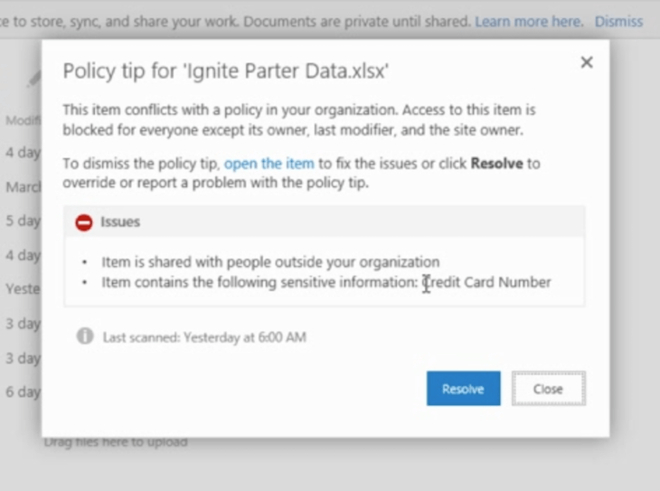 Compliance breach notifications based on Compliance Center Rules