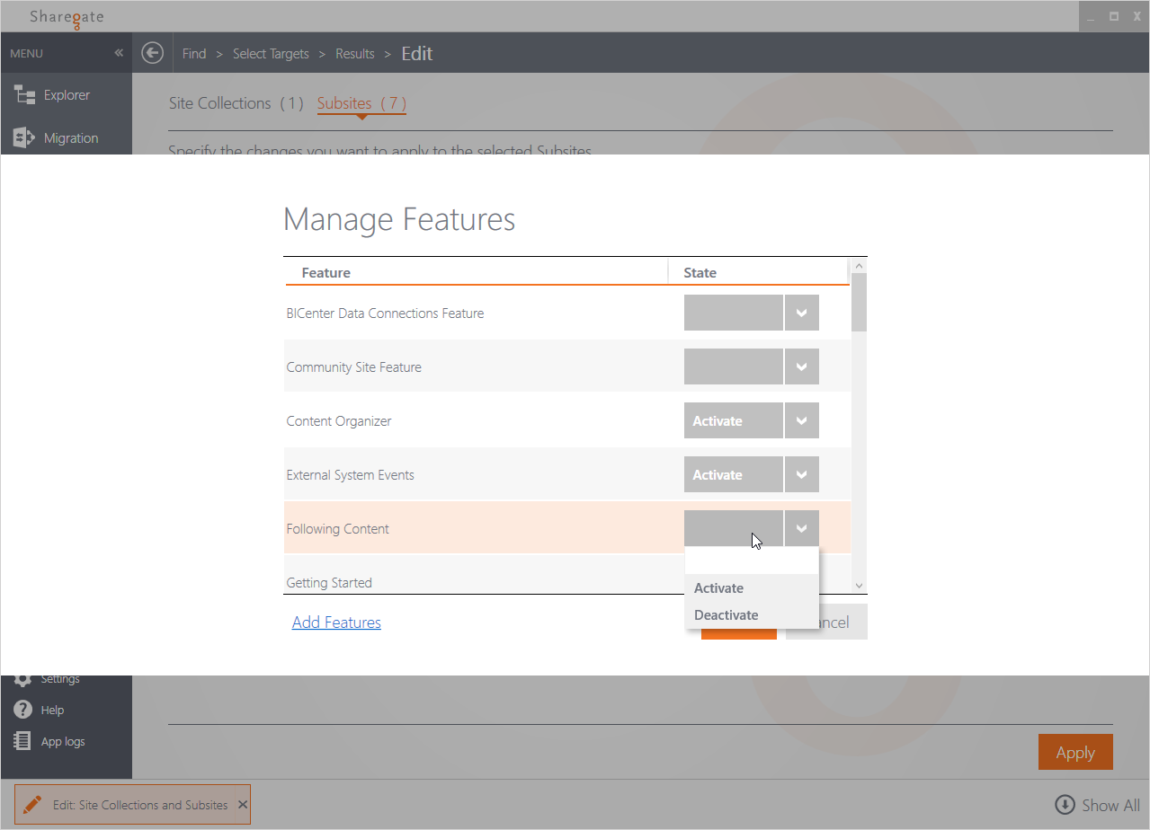 Activate multiple features and site collections in SharePoint