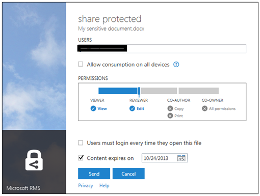 Protected Document sharing with SharePoint