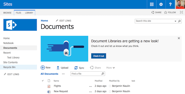 The New Document Library and the SharePoint People