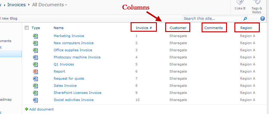 What is a SharePoint Column