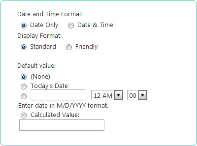 Date and Time SharePoint Column Type