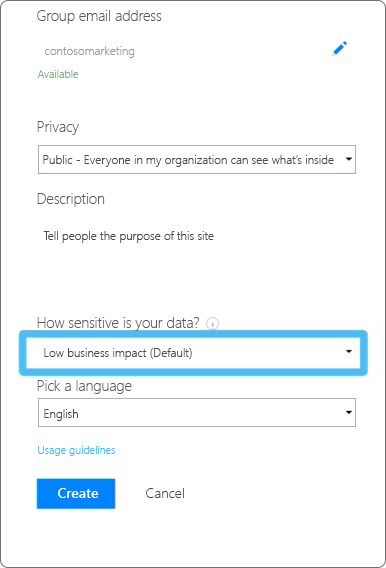 create an Office 365 Group sensitive data