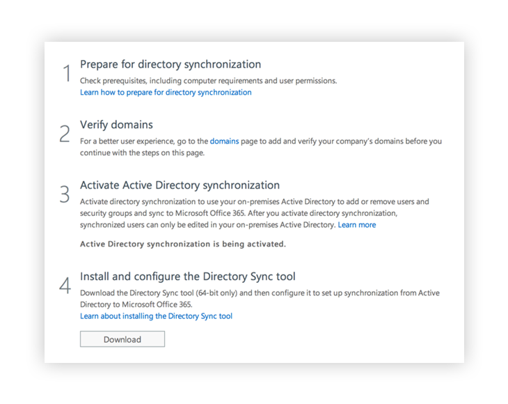 The first steps for your Active Directory Synchronization