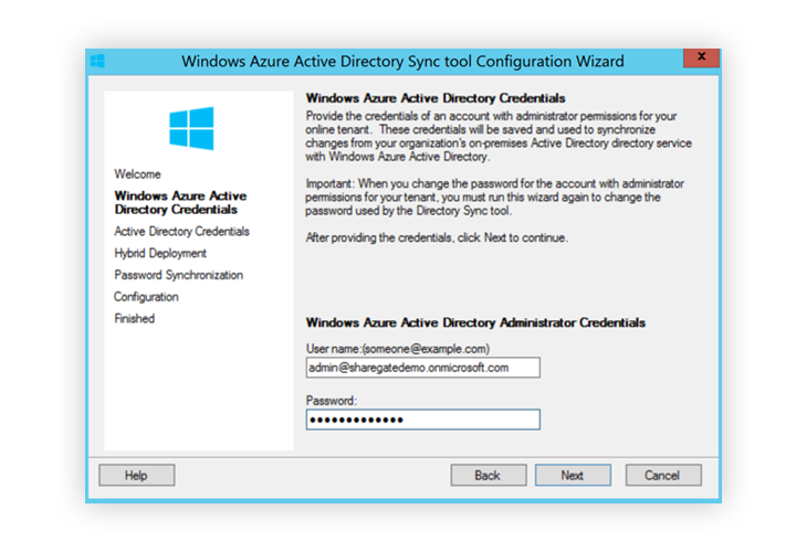 Window Azure Active Directory Sync Administrator Credentials