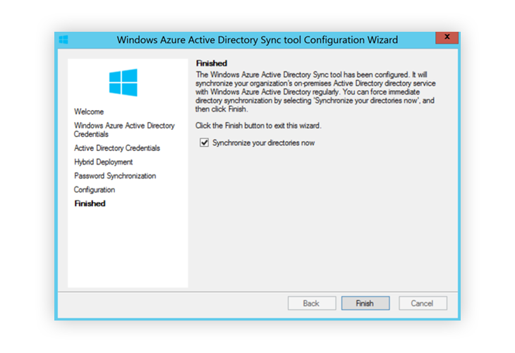 Window Azure Active Directory Sync Finished first installation