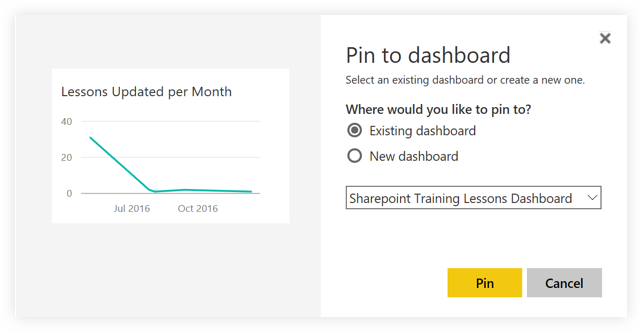 Pin to Dashboard in Power BI