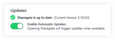 Automatic silent updates in Sharegate
