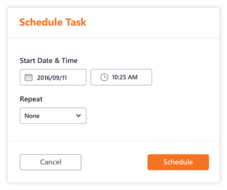 Schedule a time and date for a task in Sharegate