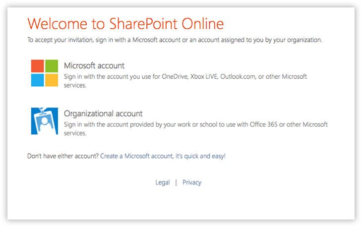 External Sharing log in screen