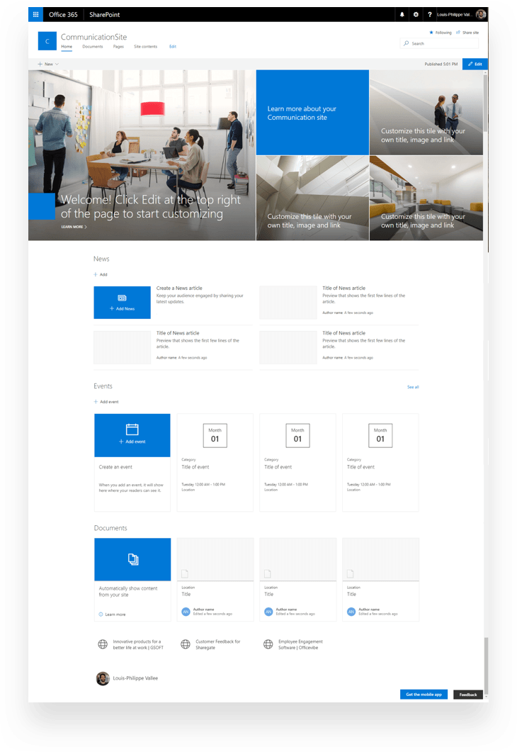 Communication Sites on desktop in SharePoint