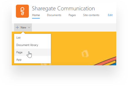 Creating a new page in Communication sites SharePoint Online