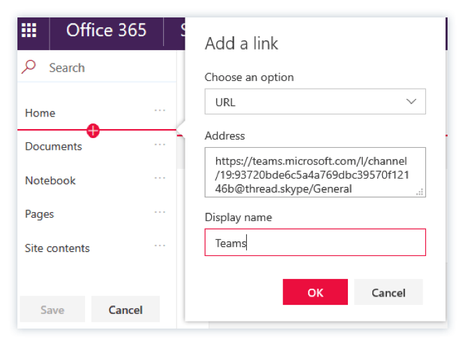 Adding Microsoft Teams quick link in SharePoint