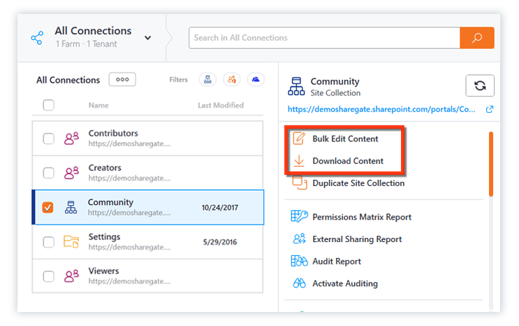 bulk edit and download content in the Explorer