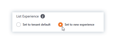 Select default or set to new experience